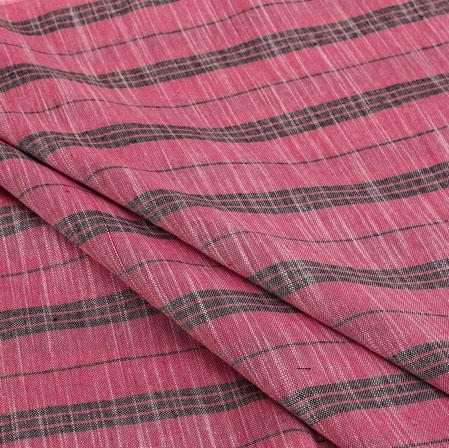 Cotton Shirt (2.25 Meter)-Pink Black Stripe-40918