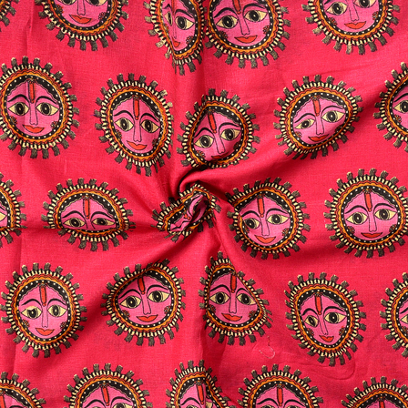 Pink-Black and Cream Durga Devi Design Manipuri Kalamkari Silk Fabric-16172