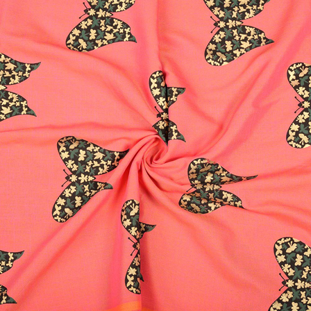 Pink-Black and Golden Butterfly Design Rayon Slub Fabric-75092