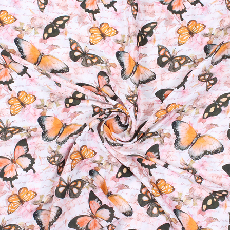 Pink-Black and Orange Butterfly Silk Crepe Fabric-18150