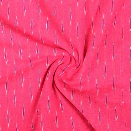 Pink Black and White Ikat Cotton Fabric-11027