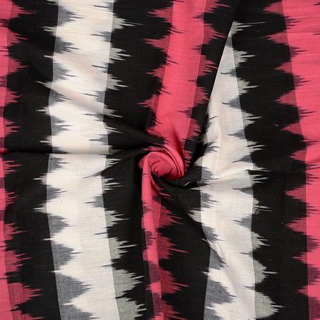 Pink-Black and White Zag Zag Design 3D Cotton Ikat Fabric-12079