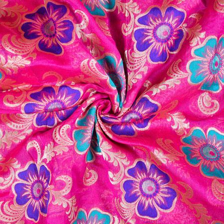 Pink Blue Brocade Silk Floral Fabric-12965