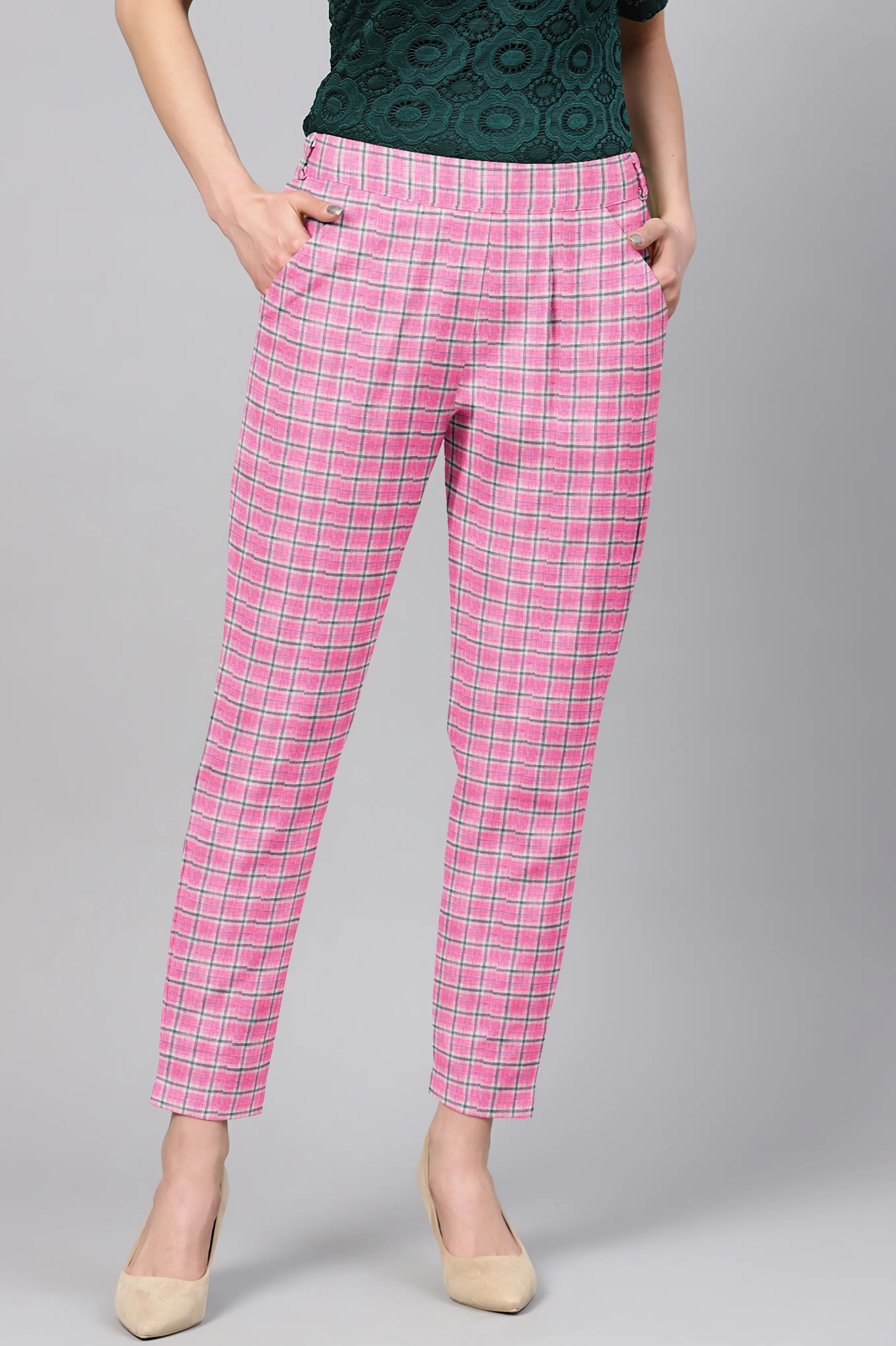 Pink Blue Cotton Check Regular Fit Solid Trouser-36057