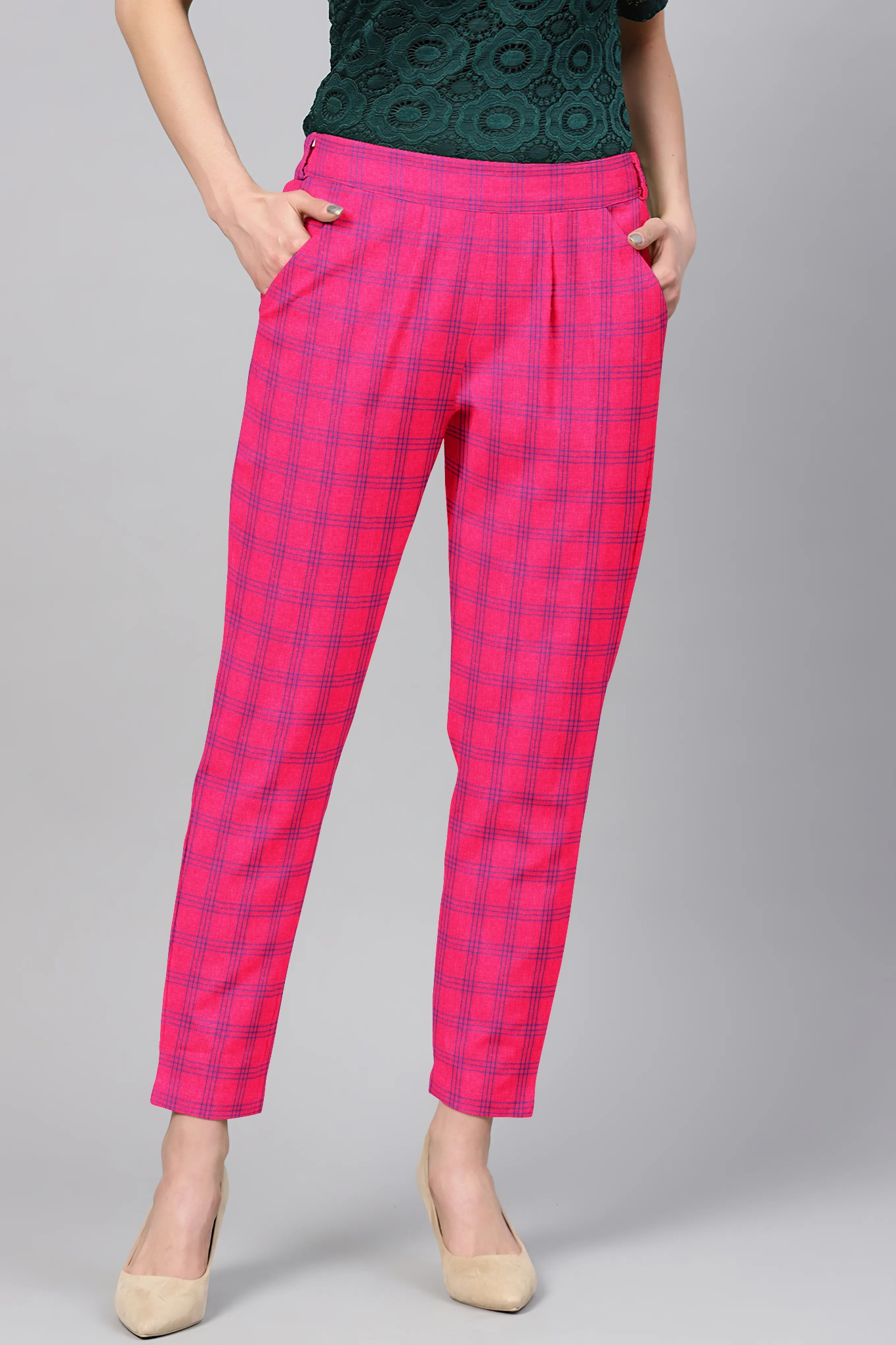 Pink Blue Cotton Check Regular Fit Solid Trouser-36097