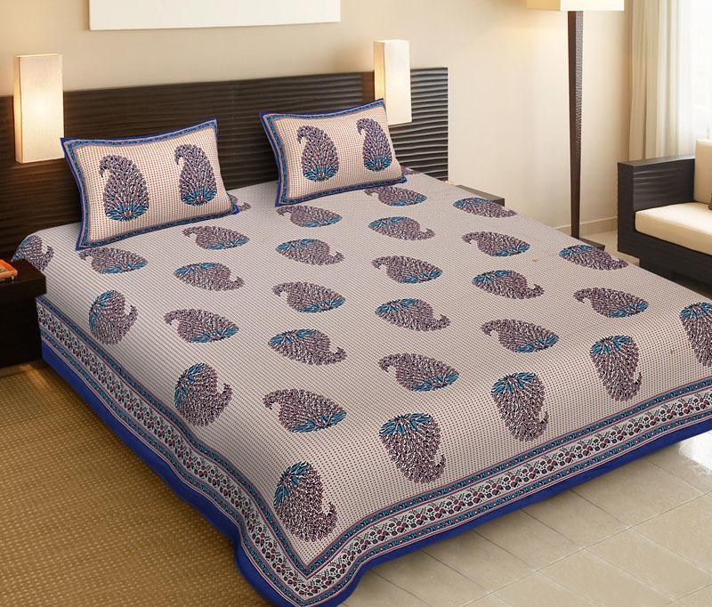 Pink Blue Cotton Jaipuri Bedsheet-512