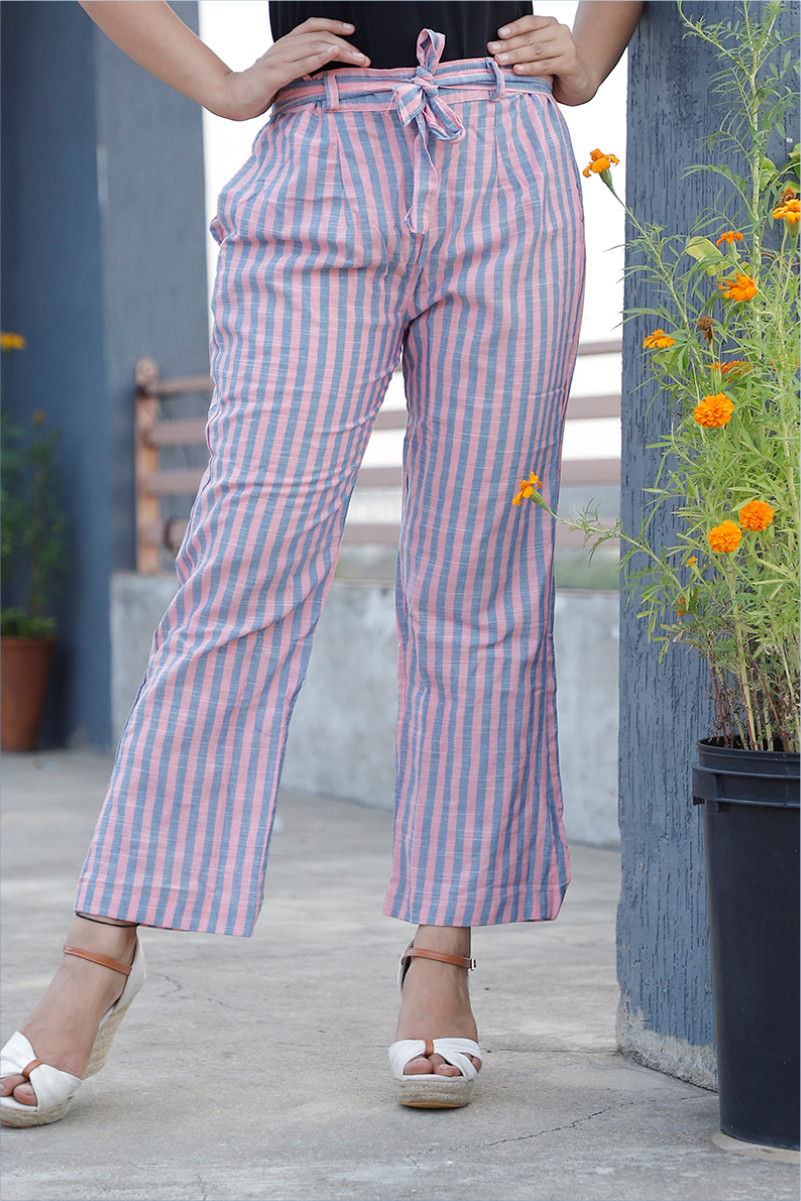 Pink Blue Cotton Stripe Pant with Belt-34051