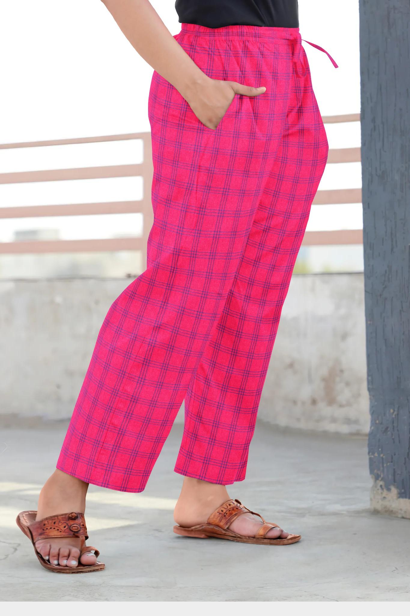 Pink Blue Cotton Regular Check Pant-35311