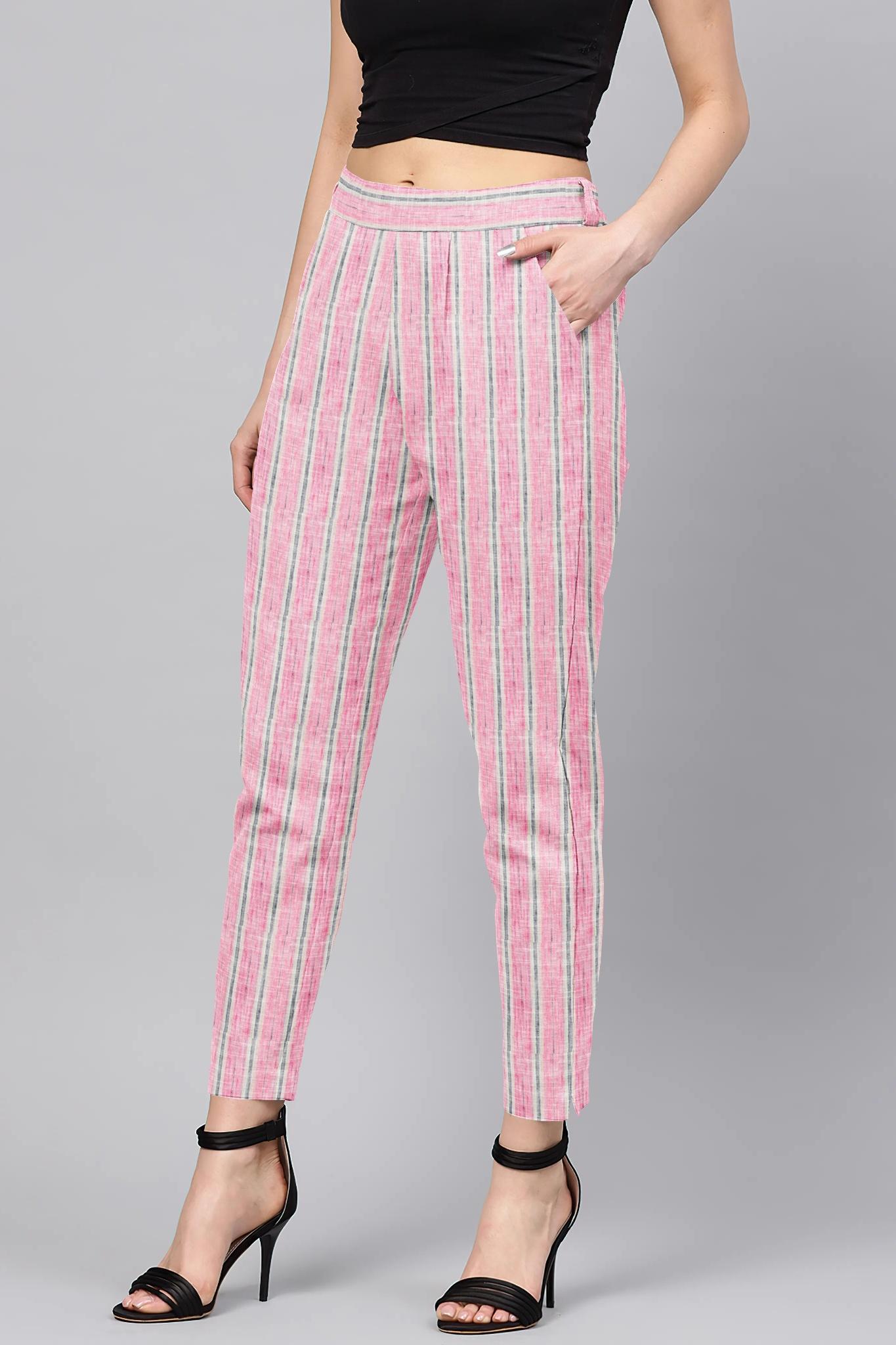 Pink Blue Cotton Stripe Regular Fit Solid Trouser-36072