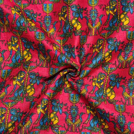 Pink Blue Dancing-figure Print Manipuri-Silk Fabric-18040