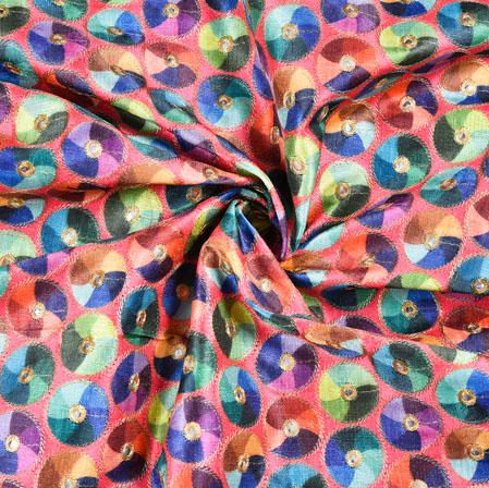 Pink Blue Digital Position Print Chinon Fabric-19358