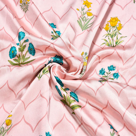 Pink Blue Floral Crepe Silk Fabric-41036