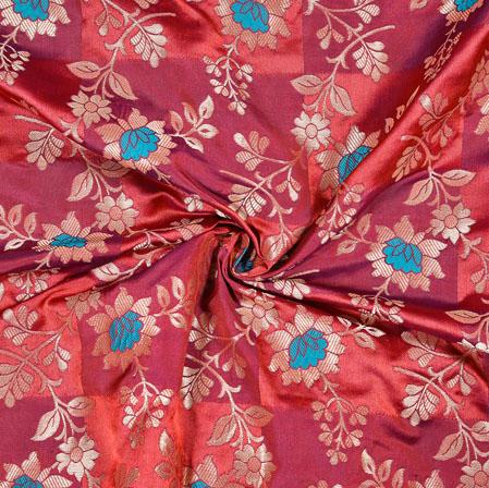 Pink Blue Flower Brocade Silk Fabric-12888