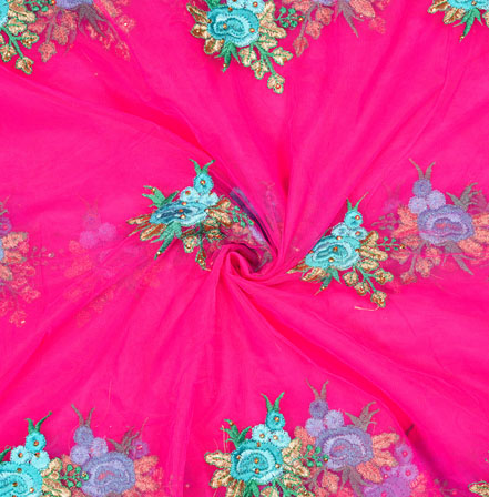 Pink Blue Flower Net Embroidery Fabric-19140