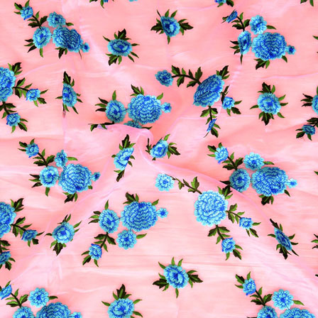 Pink Blue Flower embroidery Organza Silk Fabric-51512