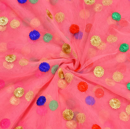 Pink Blue Golden and Green Embroidery Silk Net Fabric-18652