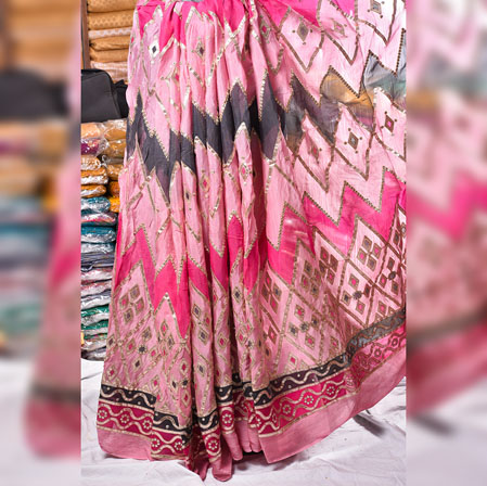 Pink Blue Gota Position Georgette Embroidery Fabric-19127