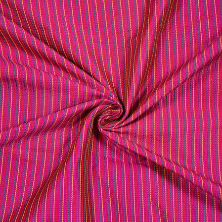 Pink Blue Stripe Brocade Silk Fabric-12718