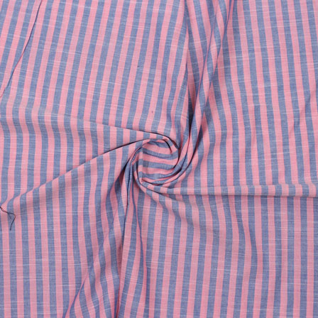 Pink Blue Striped Handloom Cotton Fabric-40773