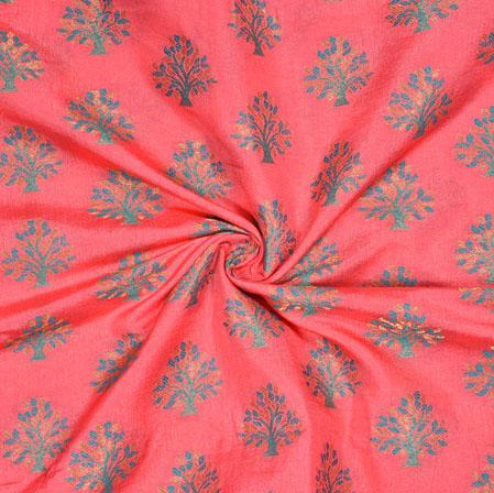 Pink Blue Tree Brocade Banarasi Silk Fabric-12847