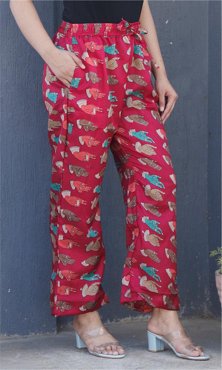 Pink Blue and Beige Manipuri Silk Handmudra Palazzo Pant-34486