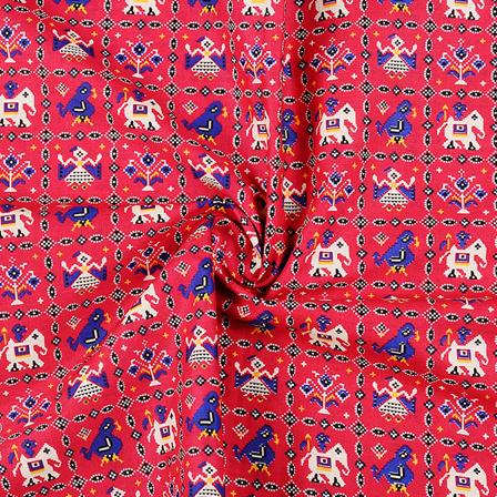 Pink-Blue and Black Cotton Kalamkari Fabric-10120