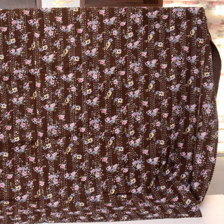 Pink-Blue and Brown Handmade Leaf Pattern Kantha Quilt-4334