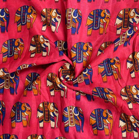 Pink-Blue and Cream Elephant Design Kalamkari Manipuri Silk Fabric-16159