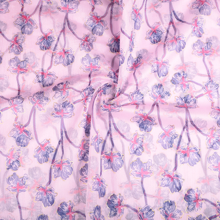 Pink-Blue and Golden Floral Organza Print Fabric-51277