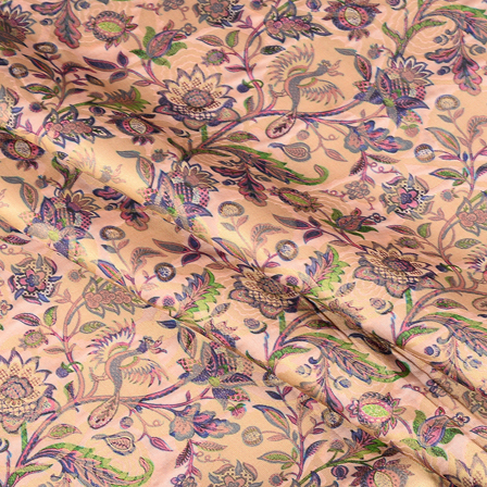 Pink-Blue and Golden Flower Digital Brocade Fabric -24112