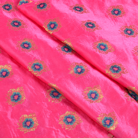 Pink-Blue and Golden Jam Cotton Silk Fabric-75141