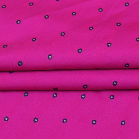 Pink Blue and Golden Zari Dot Brocade Silk Fabric-9260