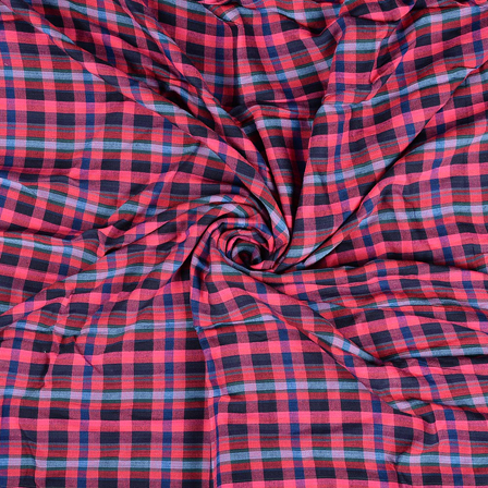 Pink-Blue and Green Checks Rayon Shirt Fabric-40250