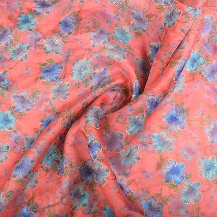 Pink-Blue and Green Flower Organza Print Fabric-51292