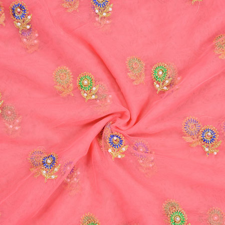 Pink Blue and Green Embroidery Silk Net Fabric-18675