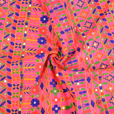Pink-Blue and Orange Gujrati Embroidery Fabric-60586