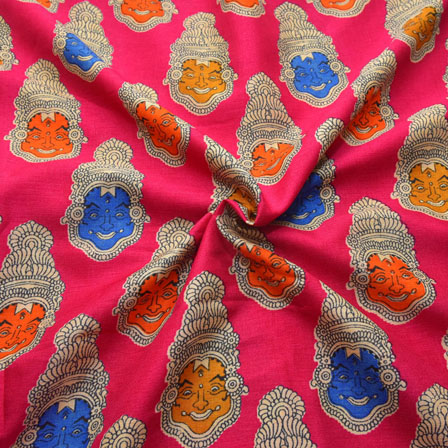 Pink-Blue and Orange Kuchipudi Face Pattern Kalamkari Manipuri Silk-16077