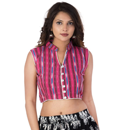 Pink-Blue and White Cut Sleeve Cotton Ikat Blouse-30227