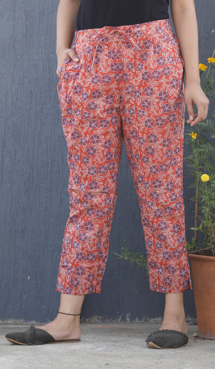 Pink Blue and White Floral Block Print Cotton Pant-34111
