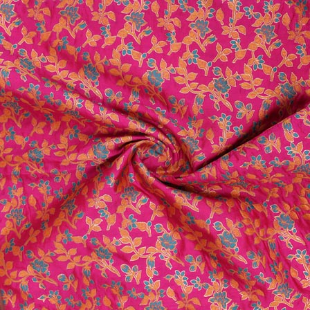 Pink Blue and Yellow Floral Banarasi Silk Fabric-9307