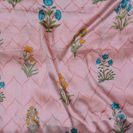 Pink Blue and Yellow Flower Japan Satin Fabric-18193