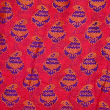 Pink-Blue and golden flower chanderi silk fabric-5060