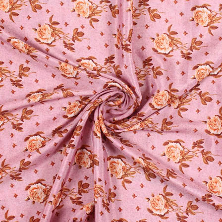 Pink Brown Crepe Silk Fabric-18172
