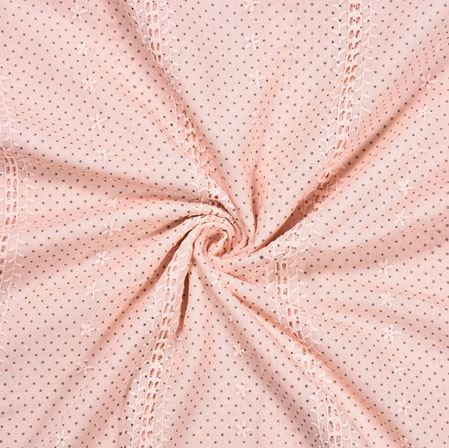 Pink Brown Dots Cotton Embroidery Fabric-28288