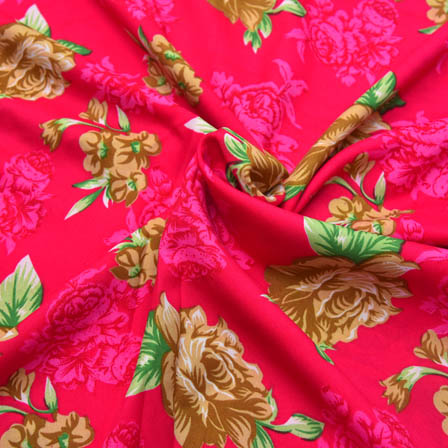 Pink-Brown and Green Flower Design Crepe Fabric-18008