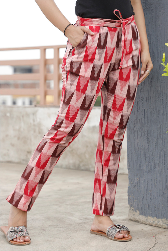 Pink Brown and Red Cotton Ikat zig zag Narrow Pant-33868