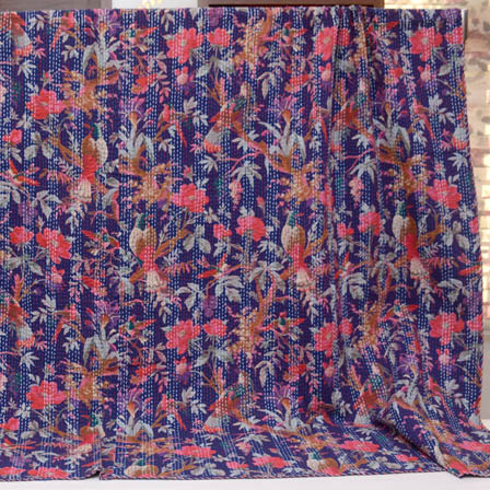 Pink-Brown and Royal Blue Handmade Floral Design Kantha Quilt-4383