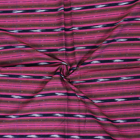 Pink-Brown and White Zig Zag Design Ikat Fabric-12055