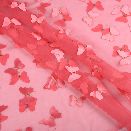 Pink Butterfly Embroidery Net Fabric -60762