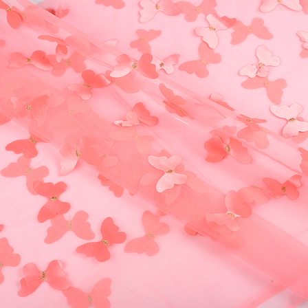 Pink Butterfly Embroidery Net Fabric -60763